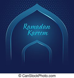 Ramadan Kareem With Mosque Gate And Arabic Ornament Background