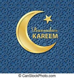 Ramadan Kareem.Blue pattern background,Gold Moon - Ramadan...