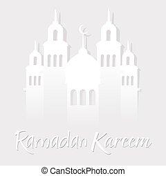 Ramadan Kareen Greetings With Mosque Paper Cut