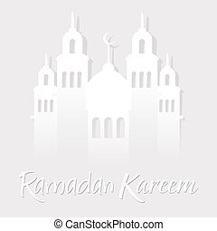 Ramadan Kareen Greetings With Mosque Paper Cut