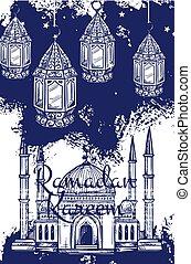 Ramadan lantern and islam mosque with crescent