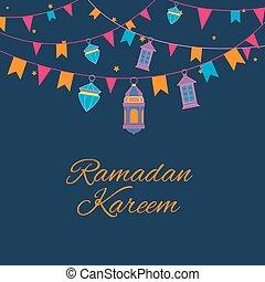 Ramadan lanterns garland pattern. Vector arabic lamps background