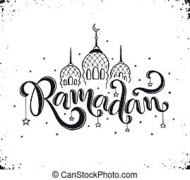 Ramadan lettering with mosque - Ramadan text isolated on ...