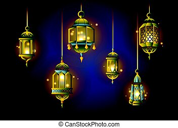 Ramadan Lights - realistic vector set of objects