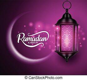 ramadan, maan, lichten, vector, fanous, halvemaan, hangend,...