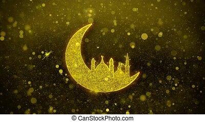 ramadan, mosquée, doré, islamique, éclat, particles., icône, lune, scintillement