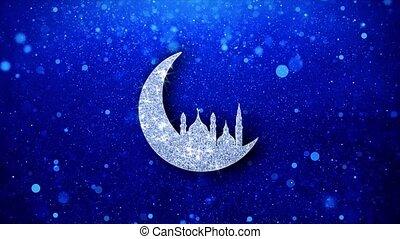 ramadan, mosquée, islamique, éclat, particles., clignotant, icône, lune, scintillement, incandescent