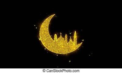 ramadan, mosquée, noir, arrière-plan., islamique, icône, particules, lune, étincelles