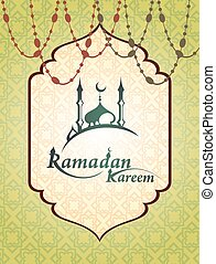 Ramadan mosque with Ramadan Kareem