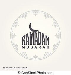 Ramadan Mubarak Creative typography with a Moon in an Islamic Circular Design on a White Background