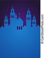Ramadan Mubarak Mosque Silhouette Background