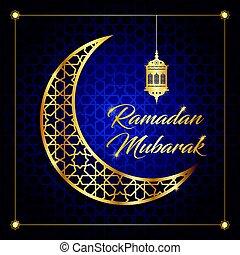 ramadan mubarak, ramadan feast greeting card vector ...