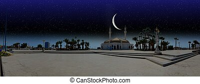 Ramadan night over city of Jeddah with new moon