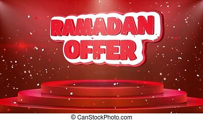 Ramadan Offer Text Animation Stage Podium Confetti Loop...