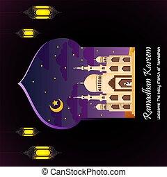 ramadan, plano de fondo, kareem, mezquita