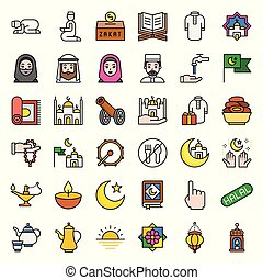 Ramadan related vector icon set, filled style editable outline