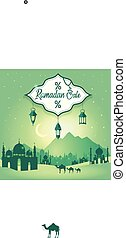 Ramadan Sale Background flyer design with sale . Stylish sale poster, banner, flyer design with Muslim symbols.