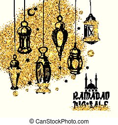 Ramadan sale background with gold space.