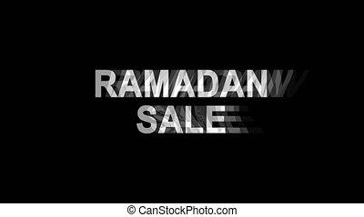 Ramadan Sale Glitch Effect Text Digital TV Distortion 4K...