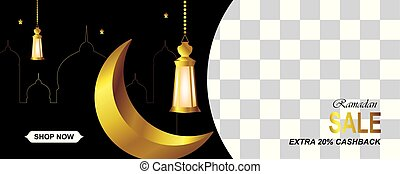 Ramadan sale horizontal with gold crescent, lanterns, mosque and stars