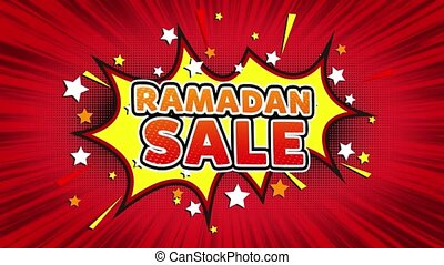 Ramadan Sale Text Pop Art Style Expression. Retro Comic Bubble Expression Cartoon illustration, Sale, Discounts, Percentages, Deal, Offer on Green Screen