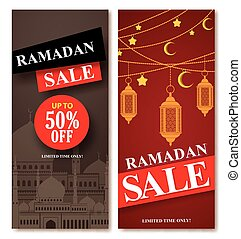 Ramadan sale vector web poster designs set with mosque