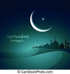 ramadan, saludo, con, dunas, y, mezquita