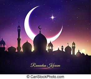 ramadan, saludo, vector, feriado, tarjeta, kareem