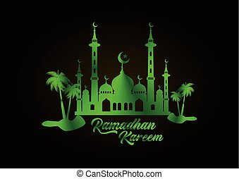 Ramadan silhouette design with mosque