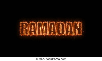 Ramadan text on black, 3d render background, computer...