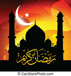 ramadan vector - beautiful glowing mosque ramadan kareem...