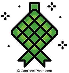 ramadan, vector, fiesta, ketupat, bola de masa hervida, relacionado, icono