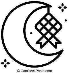ramadan, vector, fiesta, ketupat, creciente, relacionado, icono