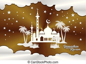 ramadan with mosque silhouette design