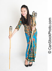 Ramadan woman - Full body portrait of Southeast Asian woman...