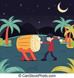 Ramadhan Bedug - Man hitting drum celebrating ramadhan