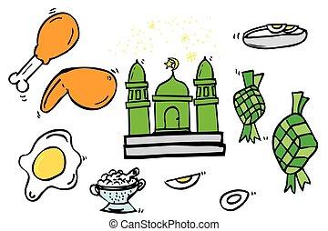 Ramadhan Foods - Hand Draw Sketch, Ramadhan (big islam day)...