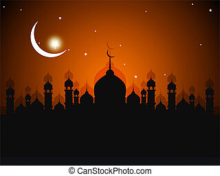 ramadhan greeting card with mosque silhouette background