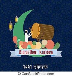 ramadhan, juego, musulmán, kareem, bedug, hombre