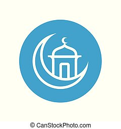 Ramadhan kareem greeting, mosque and cresent moon, islamic mosque logo icon - vector.