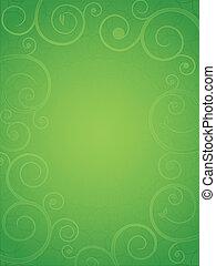 ramage, astratto, verde, cornice