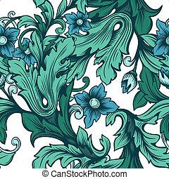 ramage, fiori, verde, seamless