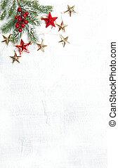 ramas, árbol, decoración, plano de fondo, navidad blanca, rojo