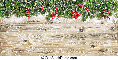 ramas, árbol, nieve, decoración, bayas, navidad, rojo