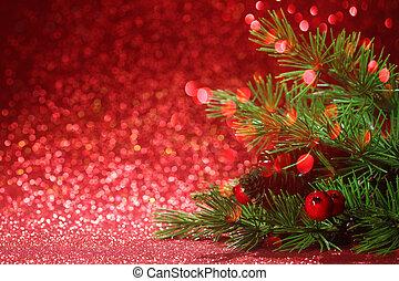 ramas, árbol, plano de fondo, navidad, rojo, brillo