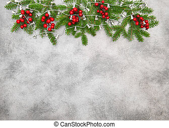 ramas, árbol, vacaciones, decoración, bayas, navidad, rojo