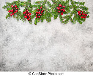 ramas, árbol, vacaciones, decoración, berries., navidad, rojo
