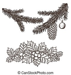 ramas, acebo, árbol, navidad