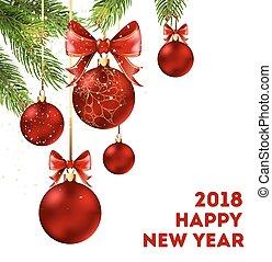 ramas, cartel, 2018, año, picea, nuevo, feriado, feliz