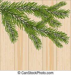 ramas, dos, ilustración, madera, fondo verde, picea